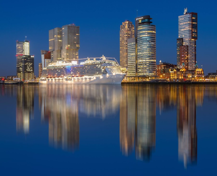by Rémon Lourier - City,  Street & Park  Skylines ( mirror, skyline, reflection, cruiseship, rotterdam )