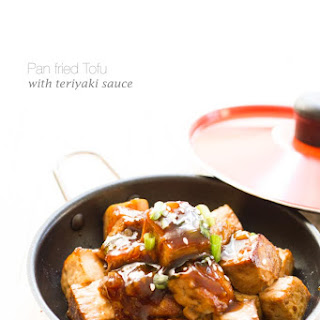 Pan Fried Tofu With Teriyaki Sauce.