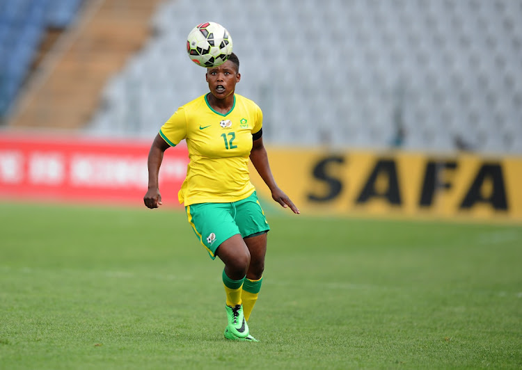 Portia Modise of Banyana Banyana during the All Africa Games qualifier match between the South African Womens National team and Botswana at Dobsonville Stadium on April 11, 2015 in Soweto, South Africa.