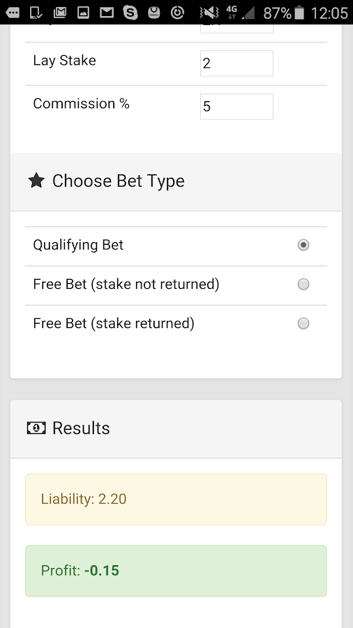 Free Bet Calculator- screenshot