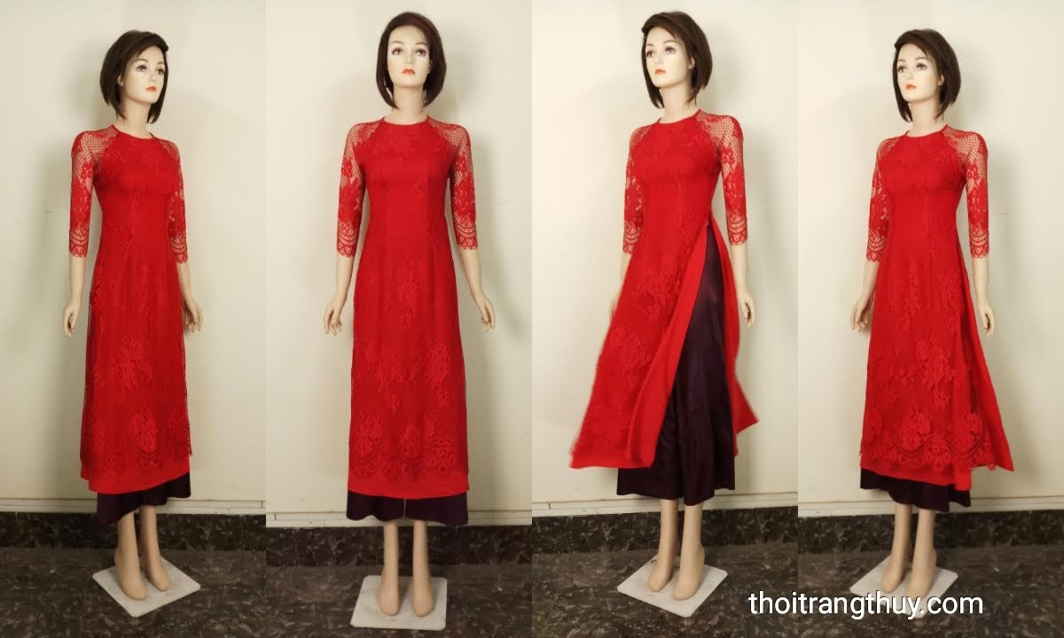 Áo dài cách tân 2 tà vải ren và lụa màu đỏ V664 Thời Trang Thủy