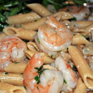 Garlicky Shrimp Pasta With Arugula Salad.