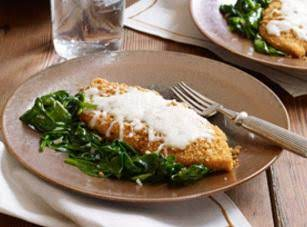Crispy Mozzarella Chicken With Garlic Spinach Recipe