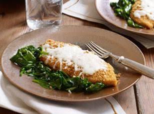 Crispy Mozzarella Chicken With Garlic Spinach
