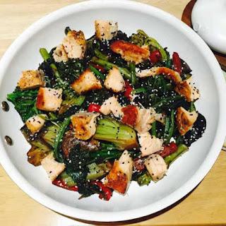 Tatsoi And Hoisin Salmon Stir Fry