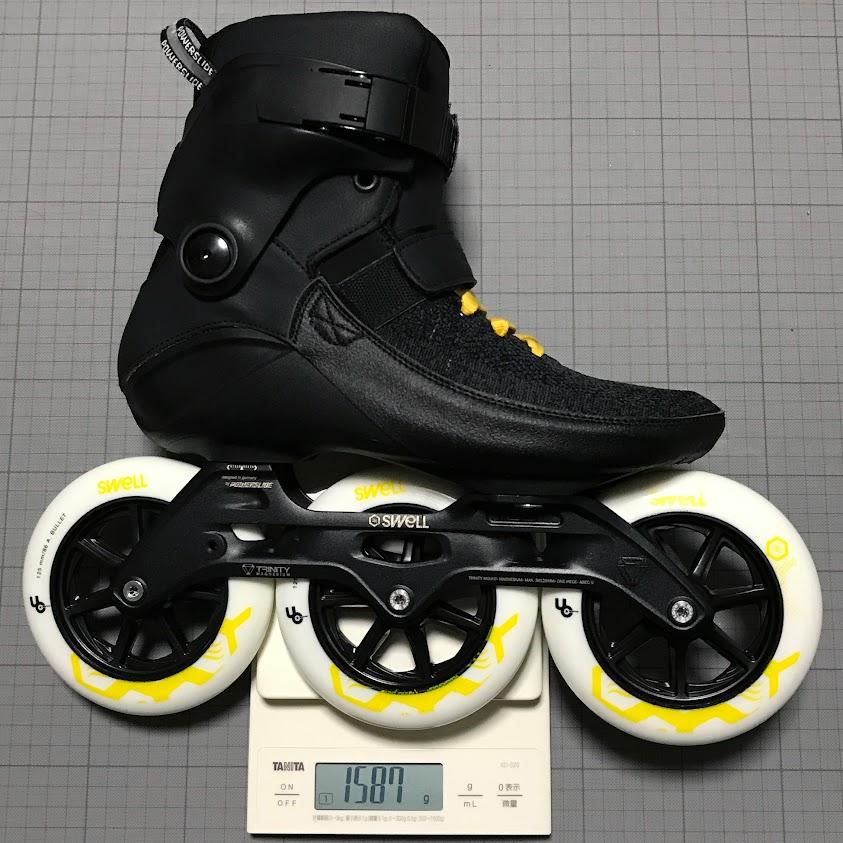 ブーツ片足の総重量は1587g
