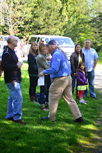 """Photo: James Rasmussen leading a chant of """"Duwamish River"""""""
