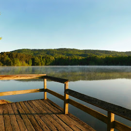 Placid Lake by Karen Carter Goforth - Buildings & Architecture Other Exteriors ( sky, mountains, dock, lake, water )