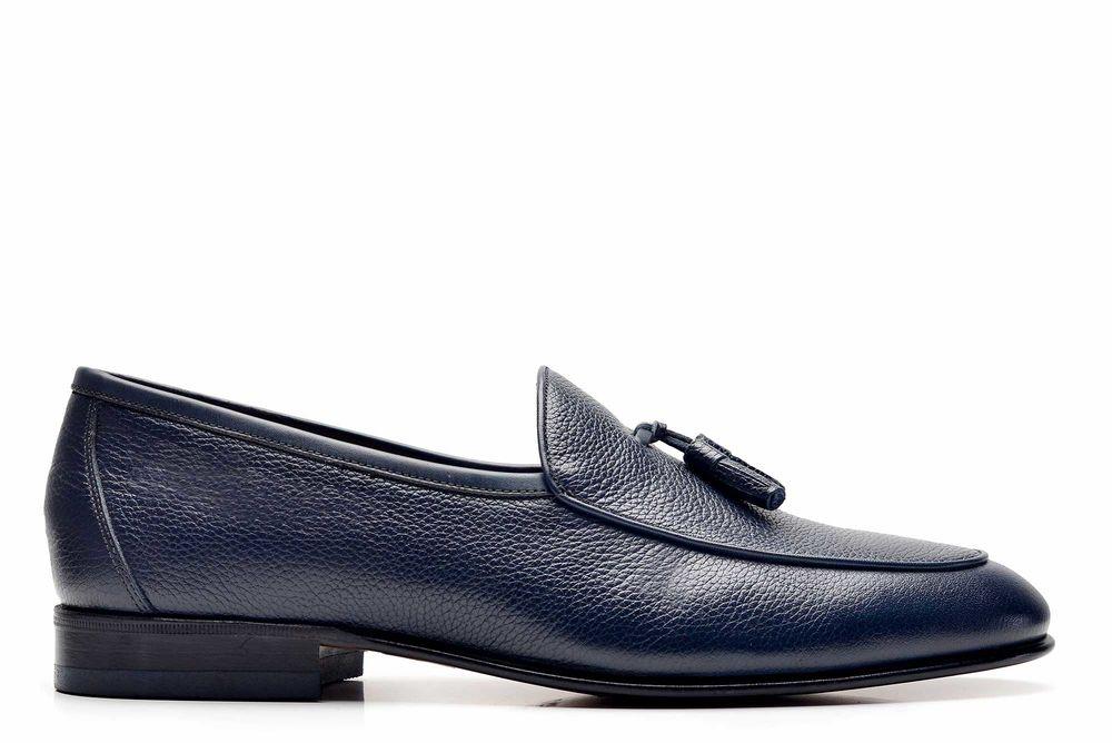 Hakiki Deri Lacivert Klasik Loafer Kösele Erkek Ayakkabı -10822-