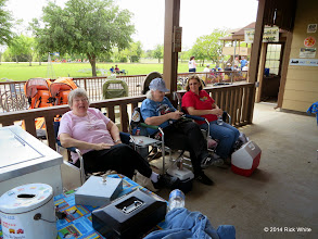Photo: Laura Brown, Mary Lou Pasley, and Marge Leventon     HALS Public Run Day 2014-0419 RPW  1:38 PM