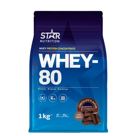 Star Nutrition Whey 80 1kg - Chocolate, Less Sweet