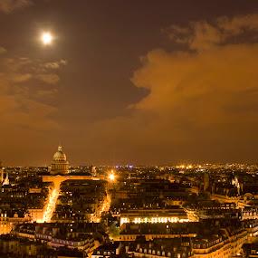 Moonlit Paris by Victor Mukherjee - City,  Street & Park  Skylines ( paris, urban, moon, europe, france, night, pantheon, city,  )