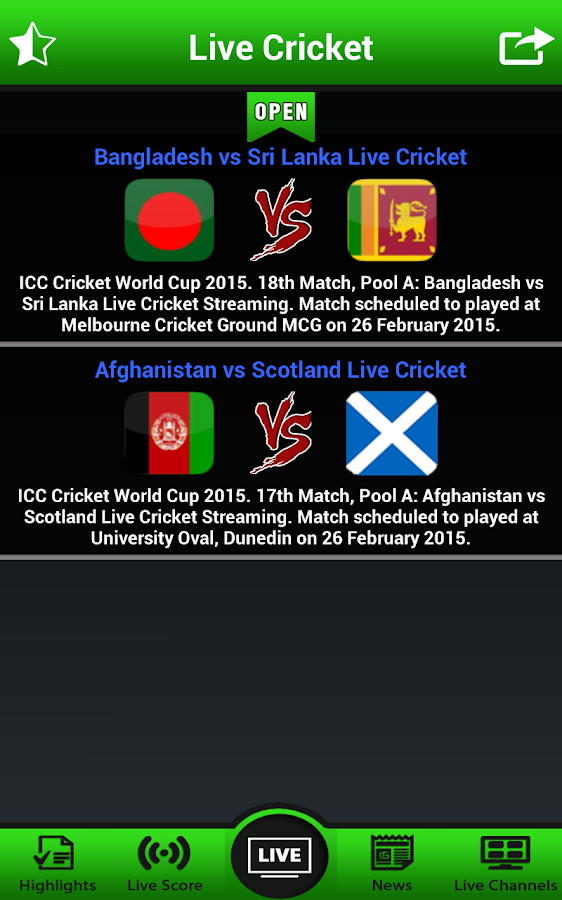 live tv cricket match