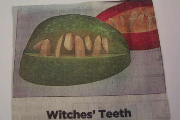 WITCHES TEETH: Quarter ond core an apple. Remove a wedge from the skin side of the...
