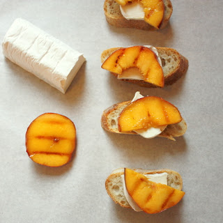 Grilled Peach and Goats Cheese Crostini.