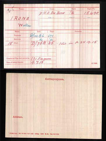 Wallace Irons's Medal Index Card
