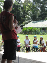 Photo: Yvette address students at Baclayon National HS
