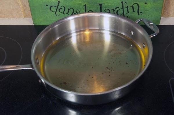 Heat the peanut oil in a sauté pan, to around 350f (176c).