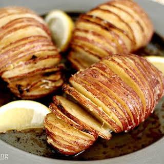 Lemon Pepper Butter Hasselback Potatoes.