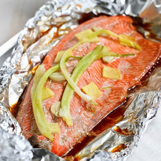 Easy Grilled Salmon in Foil Recipe with Ginger & Soy Sauce.