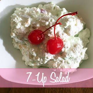 7-Up Salad with Lime Jello and Marshmallows.