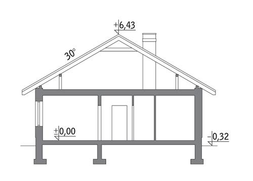 Własny dom - wariant I - C303a - Przekrój