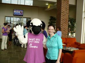 Photo: Miss Cow w/ Dr. Donna Wolfe, Staff Speech Therapst.