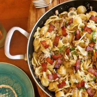 Sausage Mushroom and Bacon Pasta #SundaySupper.