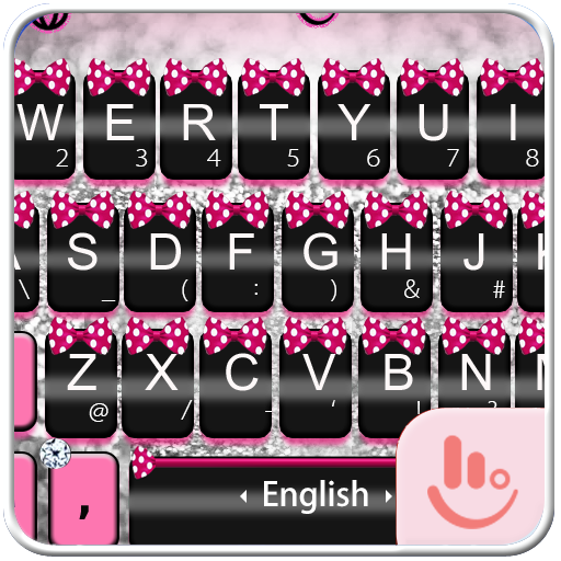 Pink Silver Bow Keyboard Theme
