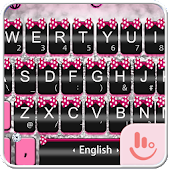 Download Pink Silver Bow Keyboard Theme Free