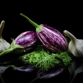 brinjal and garlic by Shajin Nambiar - Food & Drink Fruits & Vegetables