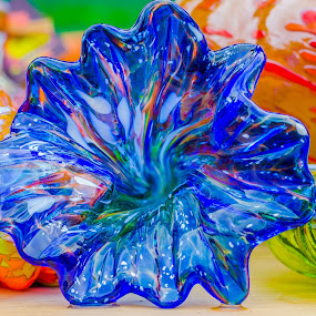 Blown Glass Flower by Lynn Kirchhoff - Artistic Objects Glass ( glass art, blue glass, blue, glass, blue flower, blown glass, flower,  )