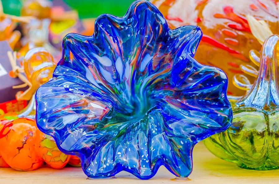 Blown Glass Flower by Lynn Kirchhoff - Artistic Objects Glass ( glass art, blue glass, blue, glass, blue flower, blown glass, flower,  )