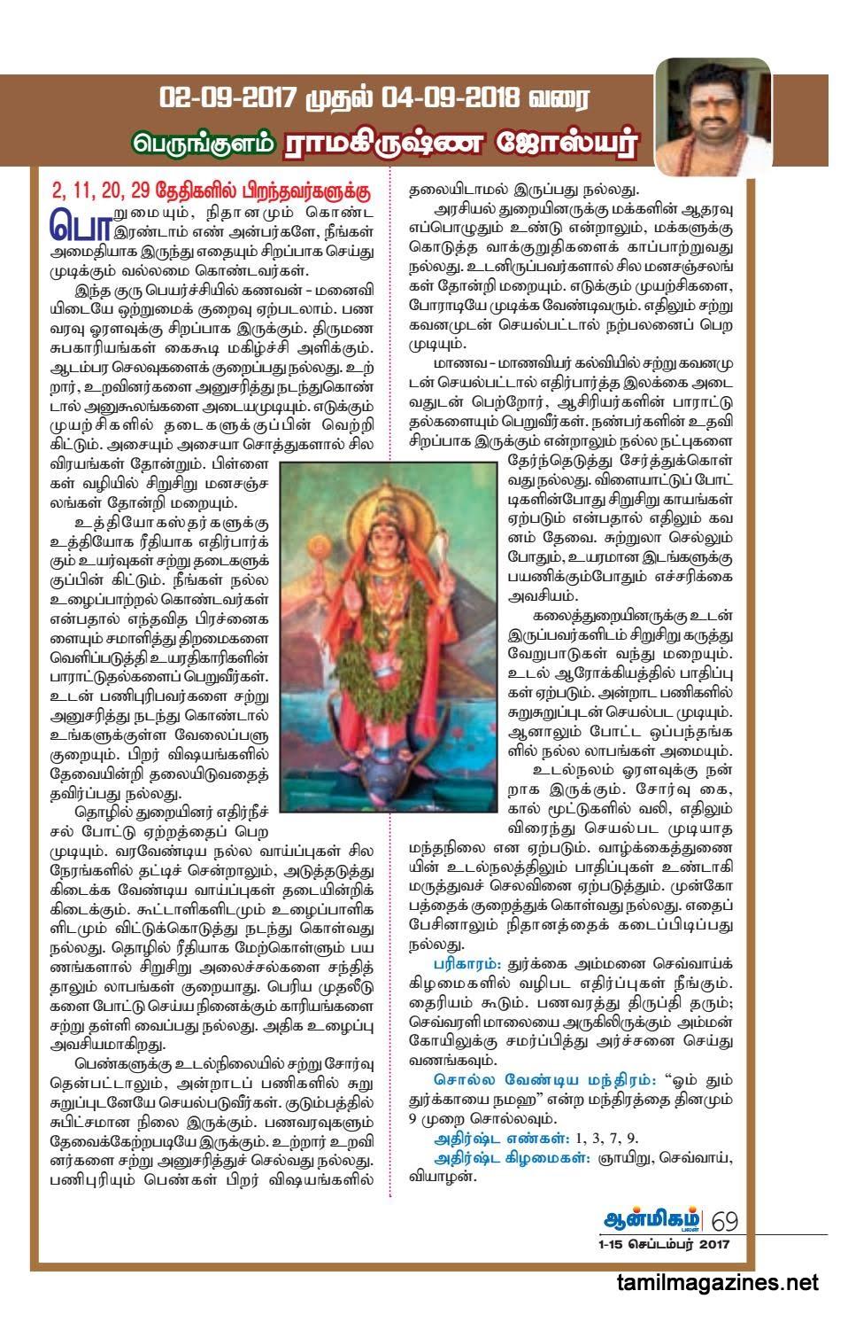 Gurupeyarchi Numerology Predictions