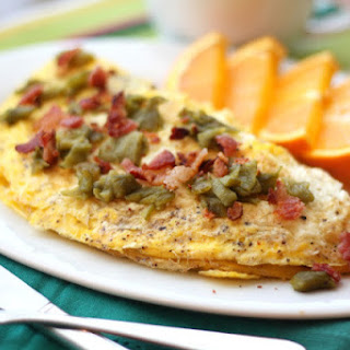 Bacon, Green Chile and Mushroom Omelet.