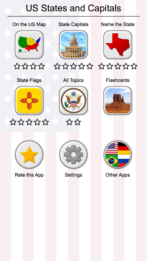 US States Map Capitals Flags American Quiz Android Apps - 50 us states map