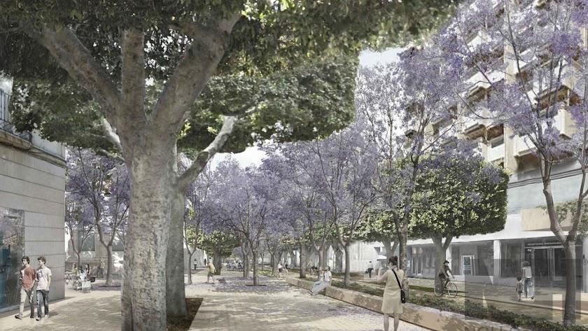 Así quedaría el Paseo peatonal en la zona de la Plaza del Educador