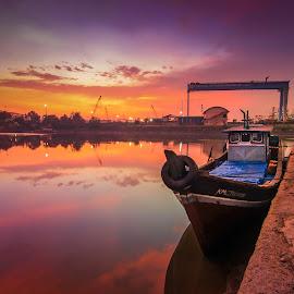 Colour of sunset by Muhammad Ikhsan - Transportation Boats ( landscape sunset, sunset, landscape )