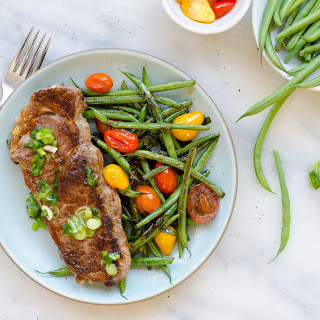 Steaks With Blistered Green Beans And Tomatoes