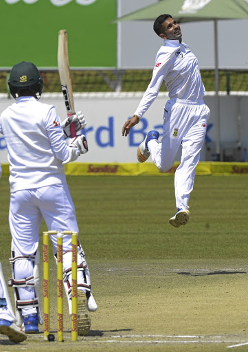 Big responsibility: Keshav Maharaj celebrates one of his four wickets in the second innings in the win over Bangladesh. The spinner is likely to be South African captain Faf du Plessis's go-to bowler in the second Test in Bloemfontein on Friday. Picture: SYDNEY SESHIBEDI/GALLO IMAGES