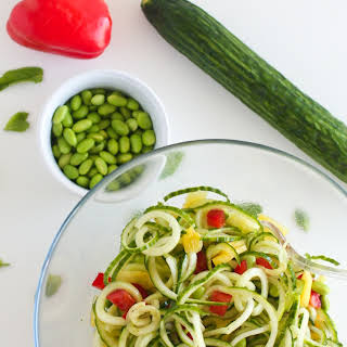 Cucumber Pineapple Salad with Edamame, Red Peppers and Pineapple Vinaigrette.