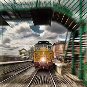 Leaving the Station by Katherine Rynor - Transportation Trains ( station, zoom, train, tracks, bridge,  )