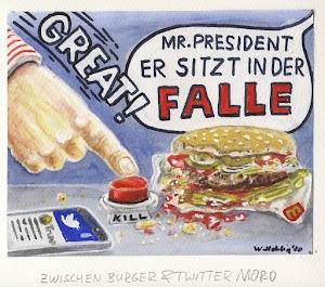 Ein dicker Finger, nach hastig hingeworfenem Burger und unterbrochener Twitter-Message, hin, den roten Knopf zu drücken: Great!