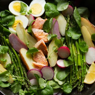 Salmon, Asparagus, Watercress Salad with Crème fraîche Dressing