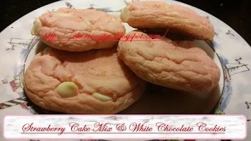 Strawberry Cake Mix & White Chocolate Cookies Recipe
