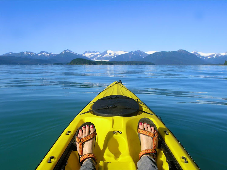 Kayaking near Juneau, Alaska.