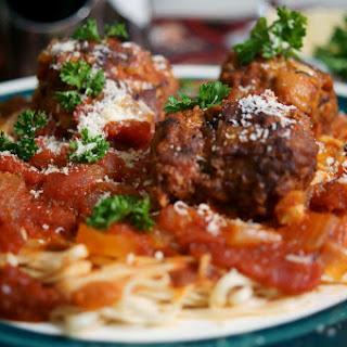 Homemade Italian Spaghetti Sauce with Meatballs.