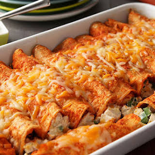 Creamy Chicken Red Enchiladas.