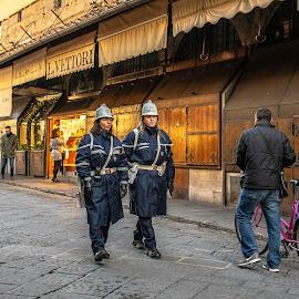 Ponte Vecchio and the Policefolk by Hariharan Venkatakrishnan - City,  Street & Park  Street Scenes