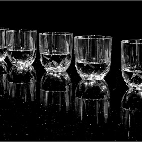 Reflections in Black & White by Ita Martin - Artistic Objects Cups, Plates & Utensils ( b&w, black and white, people, photography, portrait, reflections  black & white glass whiskey, city,  )